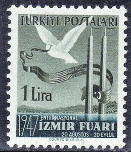 TURKEY SC #950  DOVE & FLAG 1947 1L MH SEE SCAN