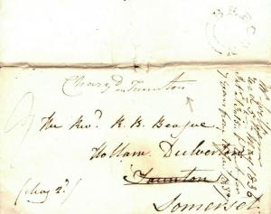 GB WALES Brecon Somerset Taunton 1836 {samwells-covers} A155a