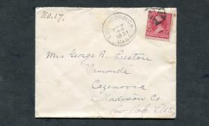 Postal History - Southborough MA 1891 Black Cork Killer Cancel Cover B0323