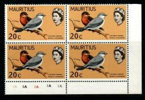 MAURITIUS SG373 1968 20c BIRDS CHANGED COLOUR MNH BLOCK OF 4