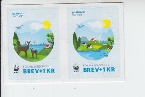 2015 Sweden WWF Charity Stamps SP SA Pair (Scott NA) MNH