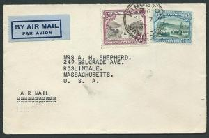 JAMAICA 1937 9d rate airmail cover to USA.................................42839b
