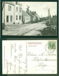 Denmark. Postcard 1910.Town Viby Sj. Windmill,People. 5 Ore King. Canc: Viby Sj.