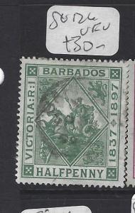 BARBADOS  (PP1610B)  SEAHORSE   1/2 D   SG  126   VFU