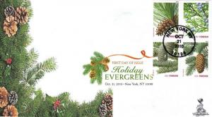 Holiday Evergreens First Day Cover, with DCP/bullseye