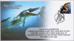2015, Canada FDC, Dinos of Canada, Tylosaurus pembinensis, 15-002