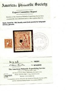 Spain #198  with hole punch APEX certificate - Lakeshore Philatelics