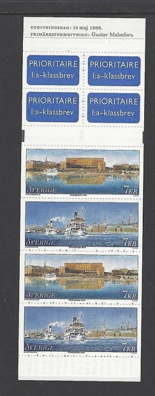Sweden 1998 Ship Stockholm Booklet VF MNH (2288a)