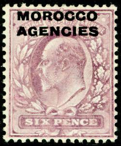 MOROCCO AGENCIES SG36, 6d pale dull purple, M MINT. Cat £15.