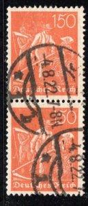 Germany Reich Scott # 175, used, pair, Mi # 189, exp h/s