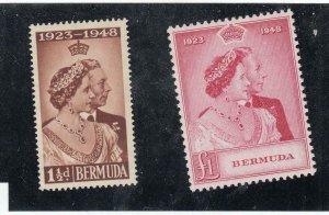 BERMUDA # 133-134 VF-MVLH 1948 KGV1 SILVER WEDDING CAT VALUE $48