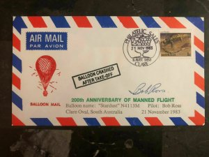 1983 Australia Balloon Crash Cover Salvaged Mail Bob Ross Signed Stardust
