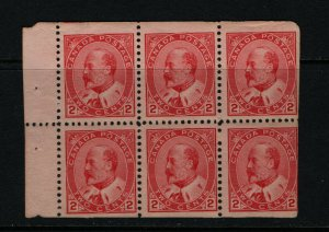 Canada #90b Mint Fine Never Hinged Booklet Pane Of Six **With Certificate**