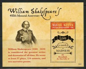 ST.KITTS  2016 400th MEMORIAL ANNIVERSARY OF WILLIAM SHAKESPEARE S/SHEET MINT NH