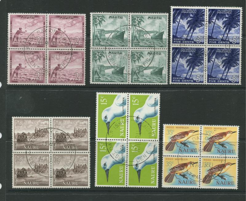 Nauru - Scott Various - Pictorial Definitive Issue- 1966 - VFU - 6 X Blocks of 4
