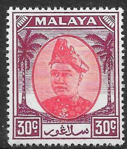 MALAYA SELANGOR SG104 1955 30c SCARLET & PURPLE MTD MINT