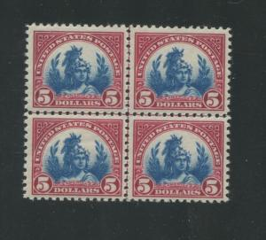 1923 US Postage Stamp #573a Mint Never Hinged Very Fine Center Line Block of 4