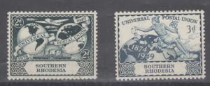 Southern Rhodesia 1949 UPU Scott # 71 - 72 MH