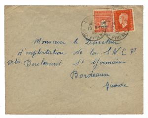 FRANCE - 1945 - Yv.685 (Dulac) & 708 (Arc de T.) /PLI d'ANGLET à BORDEAUX (0024)
