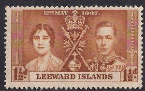 Leeward Islands 1937 KGV1 1 1/2d Brown Coronation MM SG 93 ( H1256 )