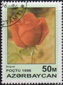 Azerbaijan 598 - Cto - 50m Red Rose, Burgundy (1996) (2)