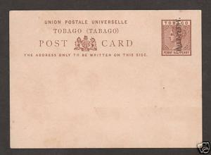 Tobago H&G 3 unused Postal Card, ½p on 1½p QV indicium