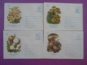 mushroom set of 12 postal stationeries Romania 1993 (ref D20)