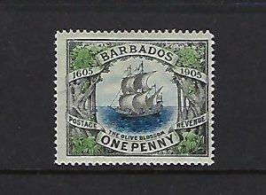 BARBADOS SCOTT #109 1906 TERCENTENARY OF BRITISH LANDING  MINT HINGED