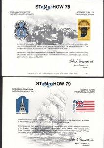 US 1977-80 APS Stamp Show Souvenir Cards lot of 5