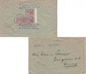 India 1a KGV (3) 1923 Calootola to Geringswalde, Germany with violet hs Stamp...