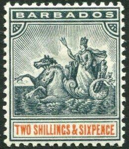 BARBADOS-1892-1903 2/6 Blue-Black & Orange Sg 114 MOUNTED MINT V33811