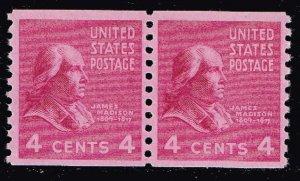 US STAMP #843 4¢ Madison 1939 Presidential Series Rotary Coil MNH/OG  PAIR