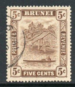 Brunei 1924 KGV 5c chocolate 5c retouch wmk MSCA SG 68a used.