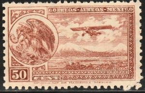 MEXICO C64, 50cents ARMS & PLANE RE-ISSUE. MINT, NH, F-VF.