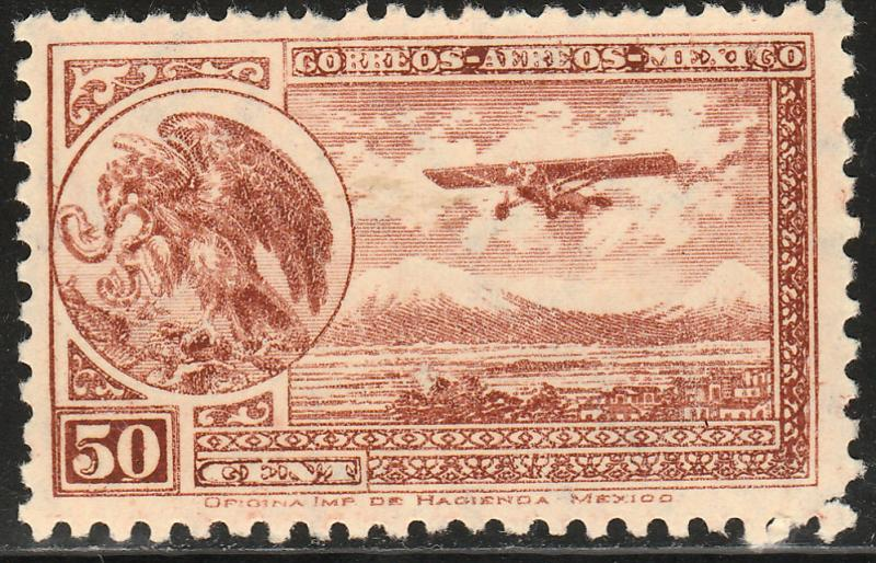 MEXICO C64, 50¢ ARMS & PLANE RE-ISSUE. MINT, NH. F-VF.
