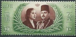 Egypt 291 (mhr) 10m marriage of King Farouk, grn & red brn (1951)