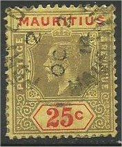 MAURITIUS, 1922, used 25c, King George V, Scott 194a Die I