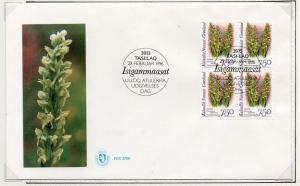 Greenland Sc 283 1996 Orchid stamp block of 4 on First Day Cover