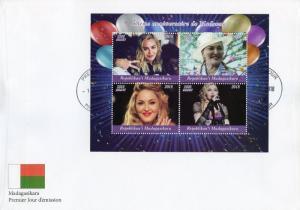 Madagascar 2018 FDC Madonna 60th 4v M/S Cover Music Popstars Celebrities Stamps