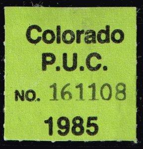 US STAMP STATE OF COLORADO P. U. C. LABEL STAMP 1985