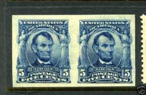 Scott 315 Lincoln Imperf Mint Pair of 2 Stamps (Stock 315-5)