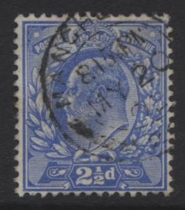 Great Britain -Scott 131 KEVII Head -1902-FU- Wmk 30 - Ultra 2.1/2p Stamp-Lot 1