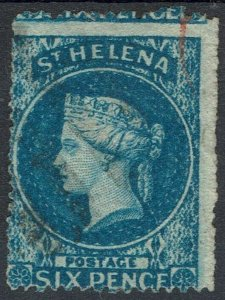 ST HELENA 1861 QV 6D WMK STAR ROUGHT PERF 14 - 16 USED