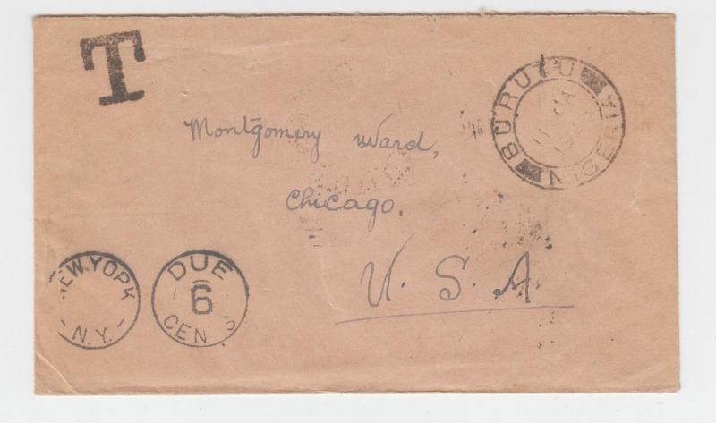 NIGERIA (BURUTU) -USA 1938 POSTAGE DUE COVER 1½d RATED+6c DUE (SEE BELOW