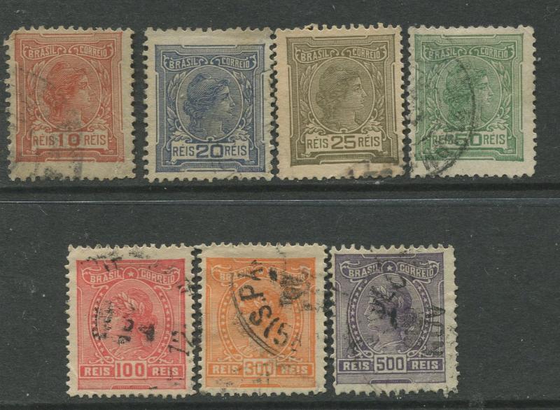 Brazil - Scott 200-206 - Liberty Head - 1918-20 - Used- Set of 7 Stamp