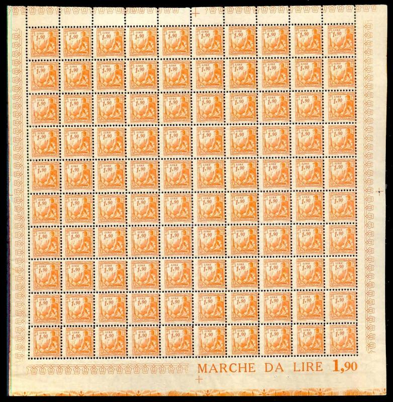 Italy 1941 1.90 L Fascist Social Security Stamp Mint Sheet #239B