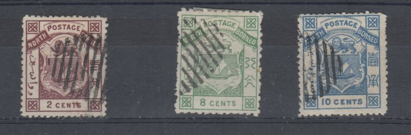 North Borneo 1886 Arms P14 2c 8c 10c SG10/12/13 Fine Used J6761