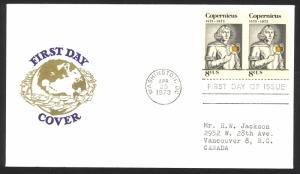 USA Sc# 1488 (cachet) FDC pair (c) (Washington) 1973 4.23 Nicolaus Copernicus