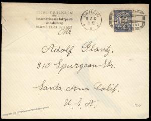 Danzig 1932 Germany LUPOSTA Poland USA Cover Santa Ana California CA 83433