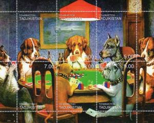 Tadjikistan 2000 Dogs playing cards Games s/s Perforated mnh.vf